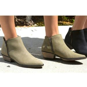 NEW Olive Side Zip Western Pointy Toe Ankle Bootie